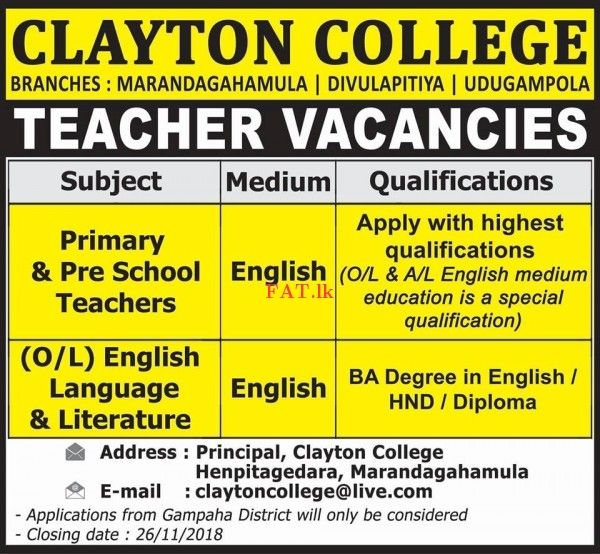 Teacher Vacancies At Clayton College With Images Teacher
