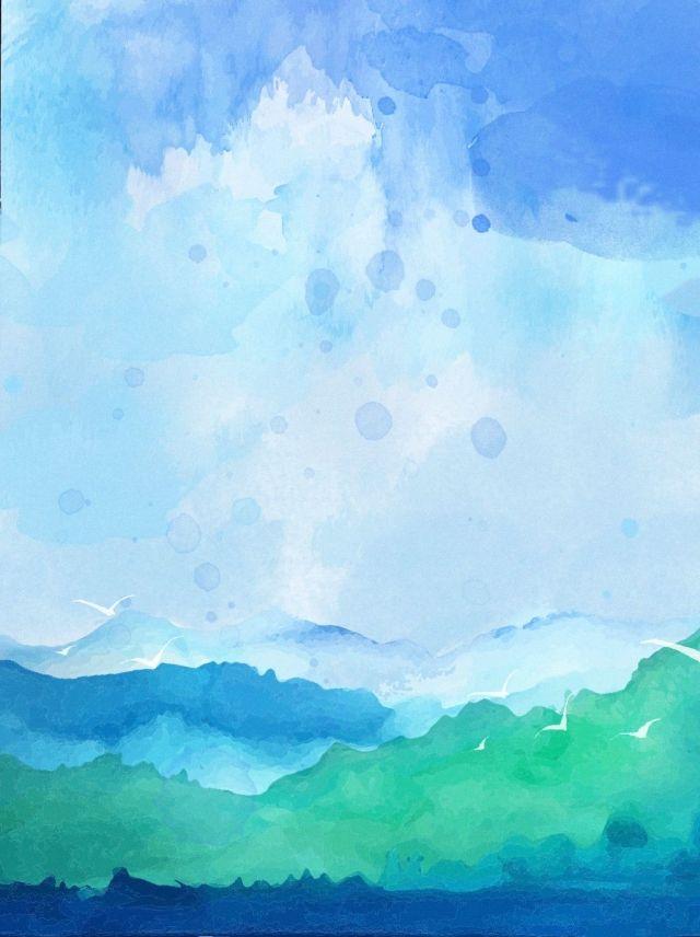 Watercolor Mountain Gradient Background Material Fundo De