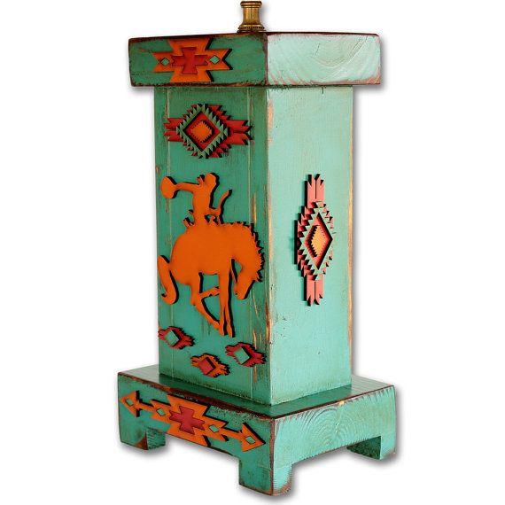 Western Lamp Southwestern Lamp Wood Desk Table Lamp Rustic
