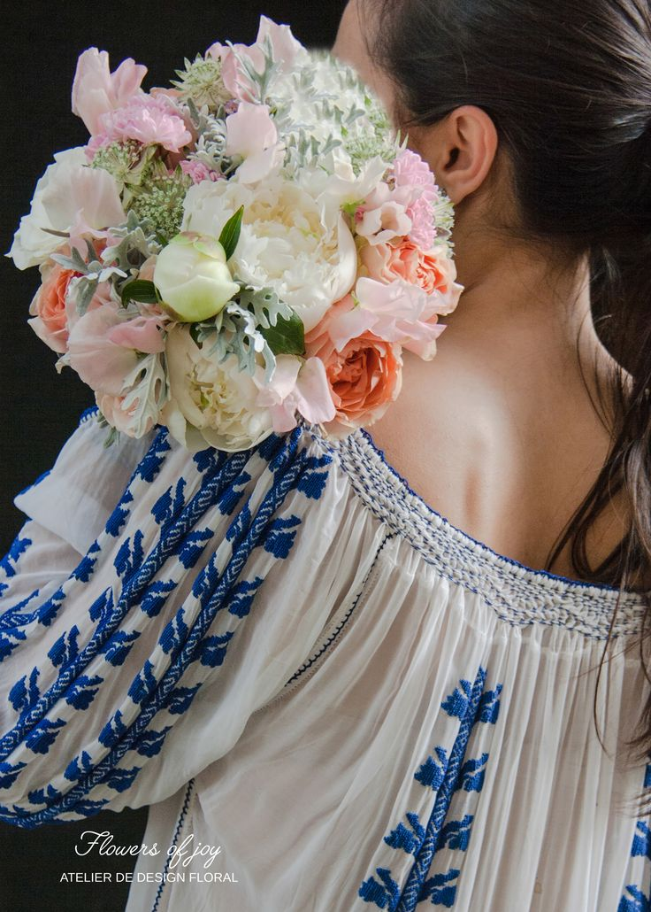 Simple summer bouquet and Romanian traditional shirt.