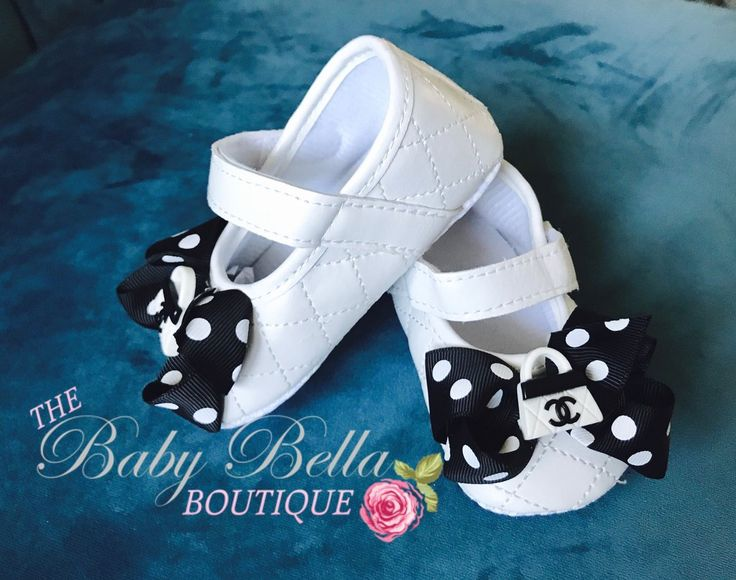 White baby shoes, black bow polka dots baby shoes