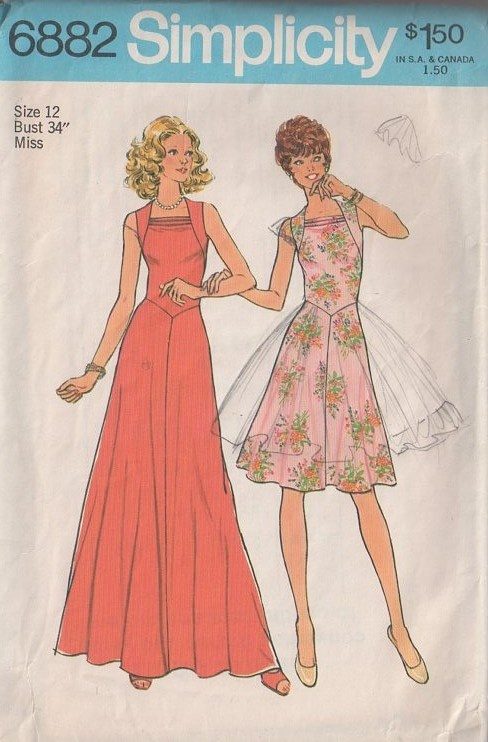 MOMSPatterns Vintage Sewing Patterns - Simplicity 6882 Vintage 70's Sewing Pattern GORGEOUS Disco Squared Cowl Neck Basque Eaist Flared Skirt Dance Party Dress, Summer Maxi Gown
