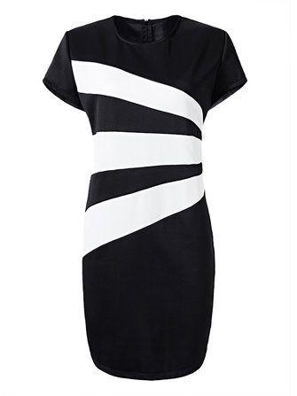 Elegant Women Black and White Stripe Plus Size Work Dress