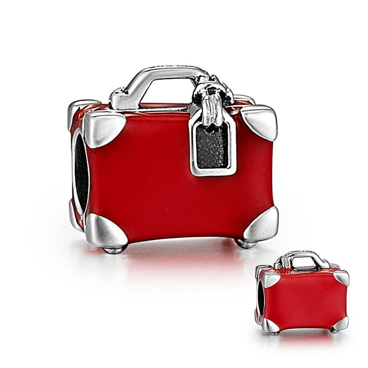 Red Travel Suitcase Charm 925 Sterling Silver