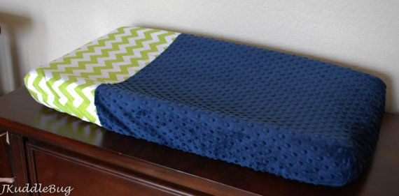 Lime Green Chevron Print and Navy Minky Dot Changing Pad Cover on Etsy, $30.00