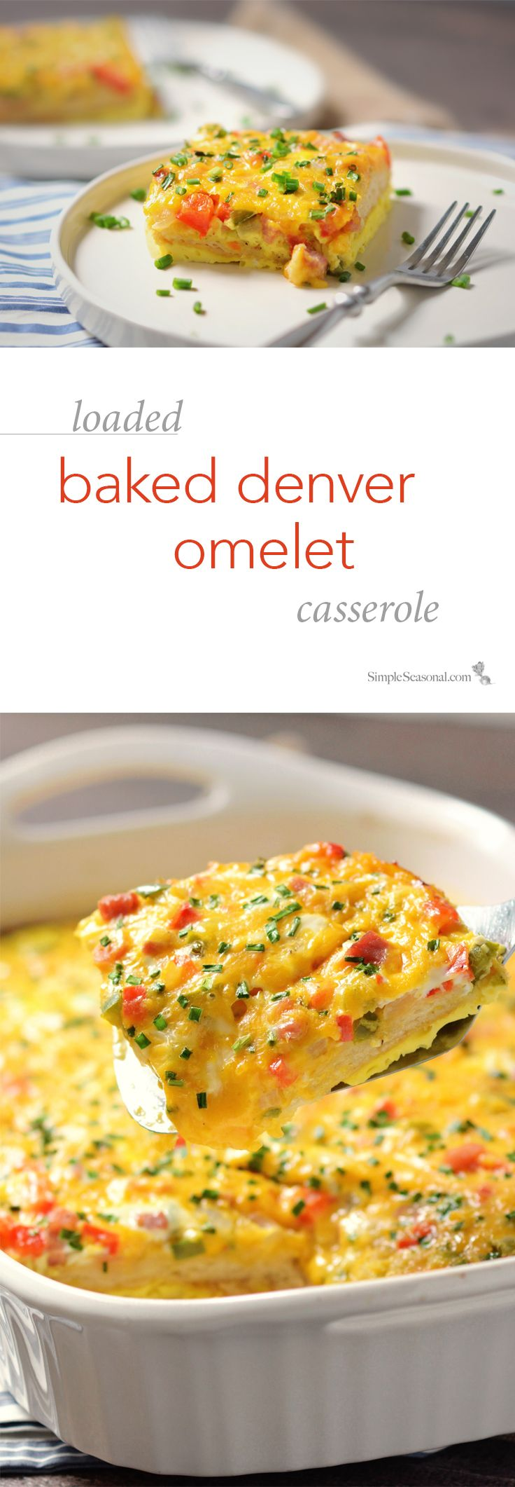 Loaded Baked Denver Omelet Casserole -Whether you're on your way to a potluck or just feeding a table full of hungry teenagers, this fun, cheesy, family-friendly dish is sure to be a hit!