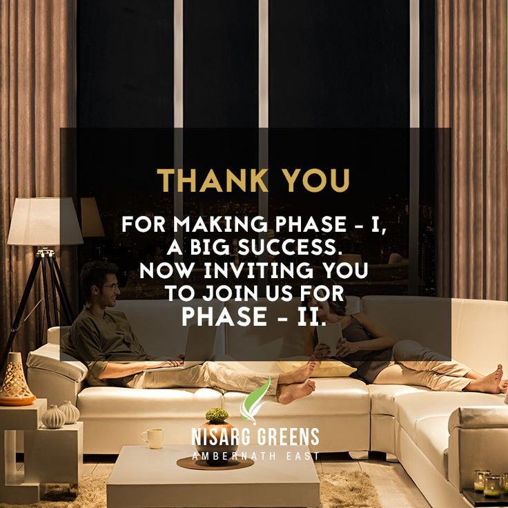 Thank you for making Phase - 1, a big success. Now inviting you to join us for Phase - 2 To know more log on to: http://www.nisarggroup.com/greens/ Or you can call on: 08655 787878   SMS 'GREENS' to 56161 #realestate #residential #property #homes #residences #nature #greens #ecoluxury