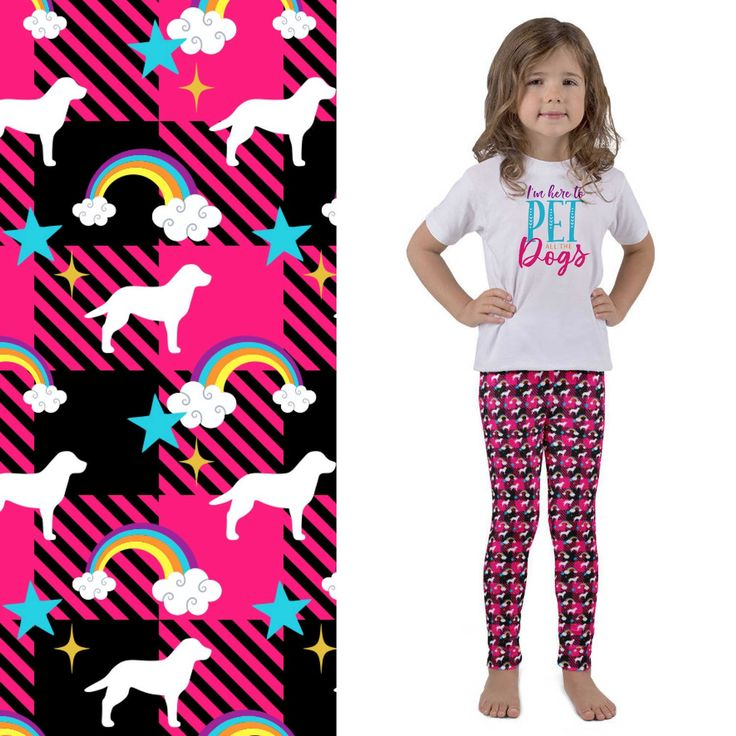 Thanks to my sister, trendy kids clothes are now being added! She helped me create this look her granddaughter would love! Labrador Retriever leggings are shown here. More breeds arriving soon!