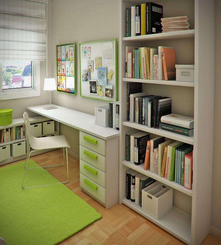 Kids Bedroom, Small Space For Kids Room Interior Design: White Study Table  Above Green Part 60