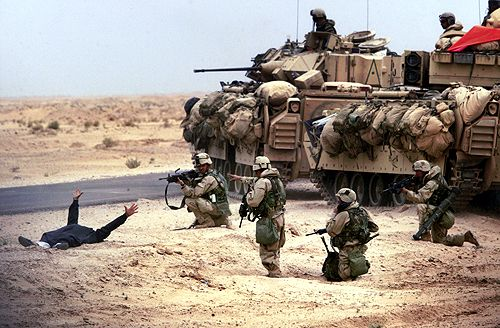 US soldiers Iraq War, also known as the occupation of Iraq, the second Gulf War, Operation Iraqi Freedom or Operation New Dawn is an ongoing military campaign which began March 20, 2003, with the invasion of Iraq by a multinational force led by the troops of the United States and Great Britain.