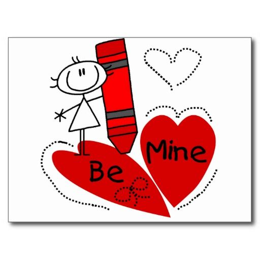 Stick Girl Be Mine Valentine Post Cards - #zazzle