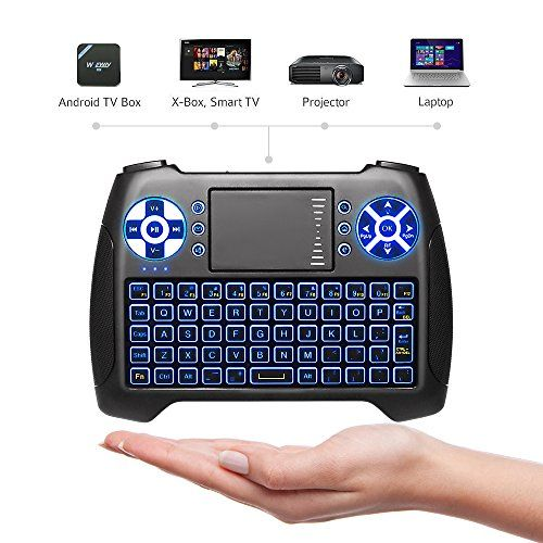 """ANEWISH USB Mini Wireless Keyboard Backlit with Touchpad Mouse Combo Set Handheld 2.4 GHz Keyboard Remote for Android TV Box   PS3   PC   Notebook   Laptop   etc - Please note: The first thing is to connect the receiver. Slide the receiver out from the back side of keyboard and insert it to the device with a standard USB interface. Then switch the power to """"ON"""" on the left top of the keyboard. It is on the left of a small jack.The usb mini wireless keyboard..."""