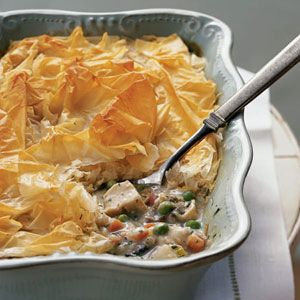 Chicken Potpie Recipe | MyRecipes.com Store bought, frozen phyllo dough makes this a much healthier alternative to the traditional high fat pastry topped version we're all used to! Packed full of veggies and lean protein, you've got yourself a winner!!