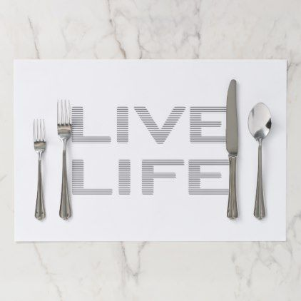 LIVE LIFE - strips - gray and white Paper Placemat - pattern sample