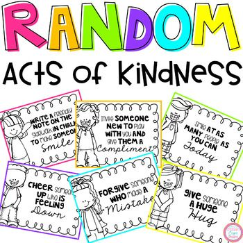 These random acts of kindness posters come in black and white and look great on colored paper! There are 24 different posters that can be used each day, each week, or each month. They can also be used over again throughout the year!!