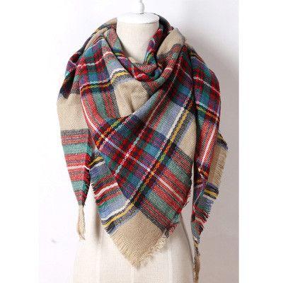Brand Cashmere Design Triangle Scarf Plaid Fashion Warm in Winter Shawl For Women pashmina shawl M8062