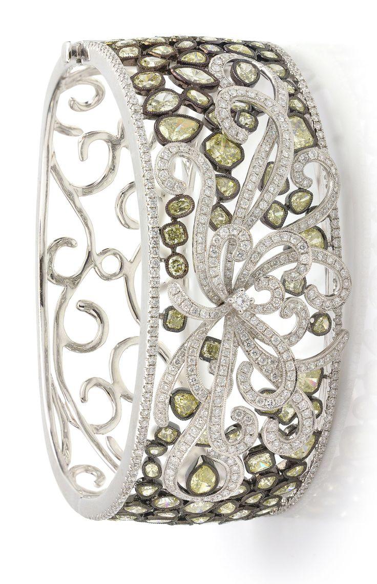 Stunning Gemstone Jewelry 19.60 ctw Yellow Diamond Multi-shape & 5.10 ctw Diamond Round 18K White & Black Rhodium Gold Bangle Bracelet Item #328-21517 Gem Shopping Network