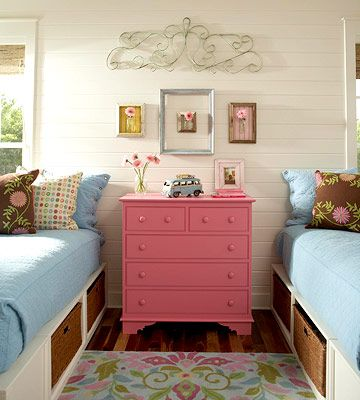 Vintage accents add color and charm to this kids room. See more here: http://www.bhg.com/rooms/kids-rooms/shared-rooms/shared-spaces-kids-rooms-for-two/?socsrc=bhgpin062912
