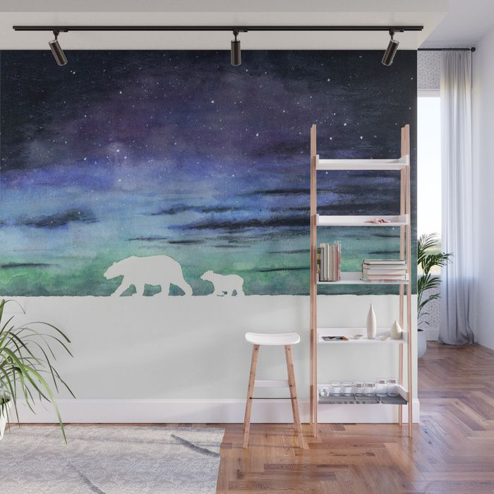 Aurora borealis and polar bears (white version) Wall Mural by @savousepate on Society6 #wallmural #wallart #walldecor #homedecor #auroraborealis #northernlights #polarbears #polarbear #floe #northpole