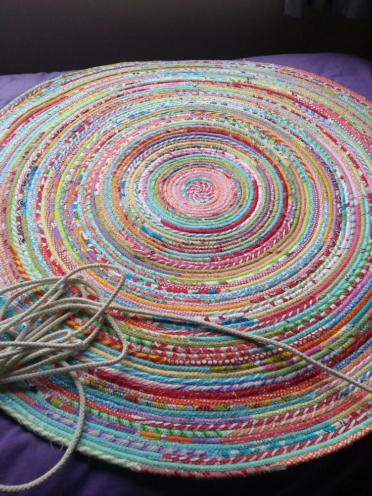 Beautiful sewed rug made from cotton sashing and strips of fabric