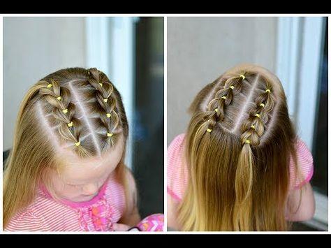 Peinado para niñas fáciles y rápidos de hacer con ligas cruzadas a lado y lado|LPH - YouTube