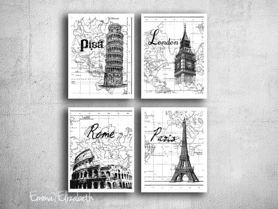 Digital print travel poster art set european cities by eeartstudio