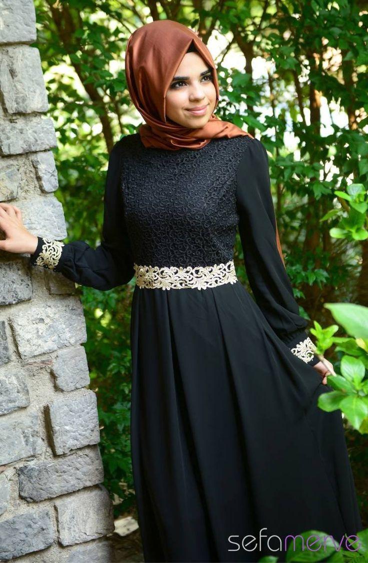 Tesettür Elbise FY 51983-07 Siyah