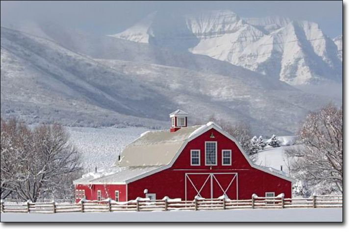 Red barn in winter.  Not much for living in the cold or snow, but if it is to be, then this would be it!