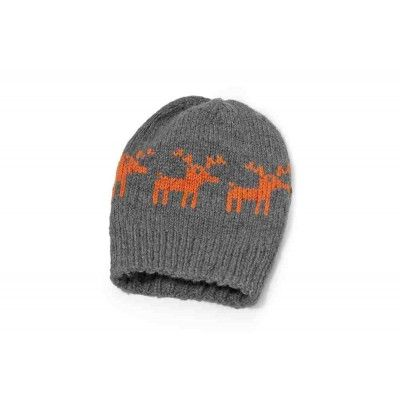 A knitted cap made of grey, thick yarn with an orange reindeer pattern. You can wear it in two different ways – it can be either a sleepyhead cap or a cap with the rolled-out cuff. Not only is the cap warm, but also very original.