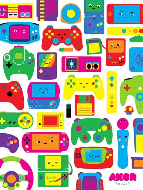 Such a fabulously fun, wonderfully Kawaii array of handheld video game systems and gaming controllers.