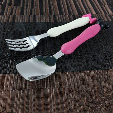 2Pcs Lovely Baby Kids Self Feeding 1 Spoon and 1 Fork Set Children Tableware 2 Size High Quality Stainless Steel Baby Flatware