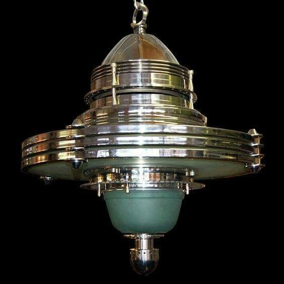 Art Deco atomic-type chandelair. As deco as it ever was.