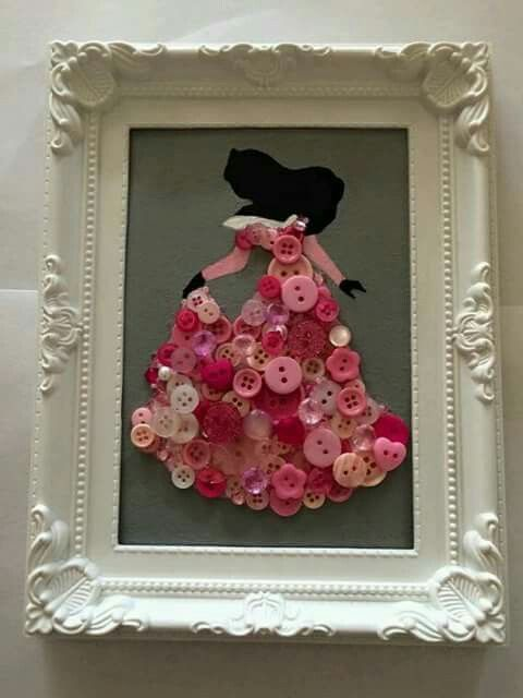 Disney pink princess button art