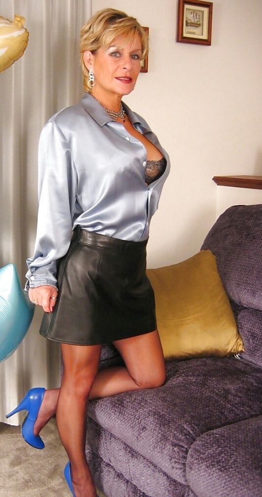 Mature Old Buisness Women In Satin Blouse 121