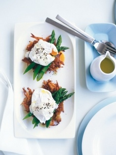 Soft-poached eggs with sweet potato hash browns. For those mornings when you;re feeling like something fancy :)