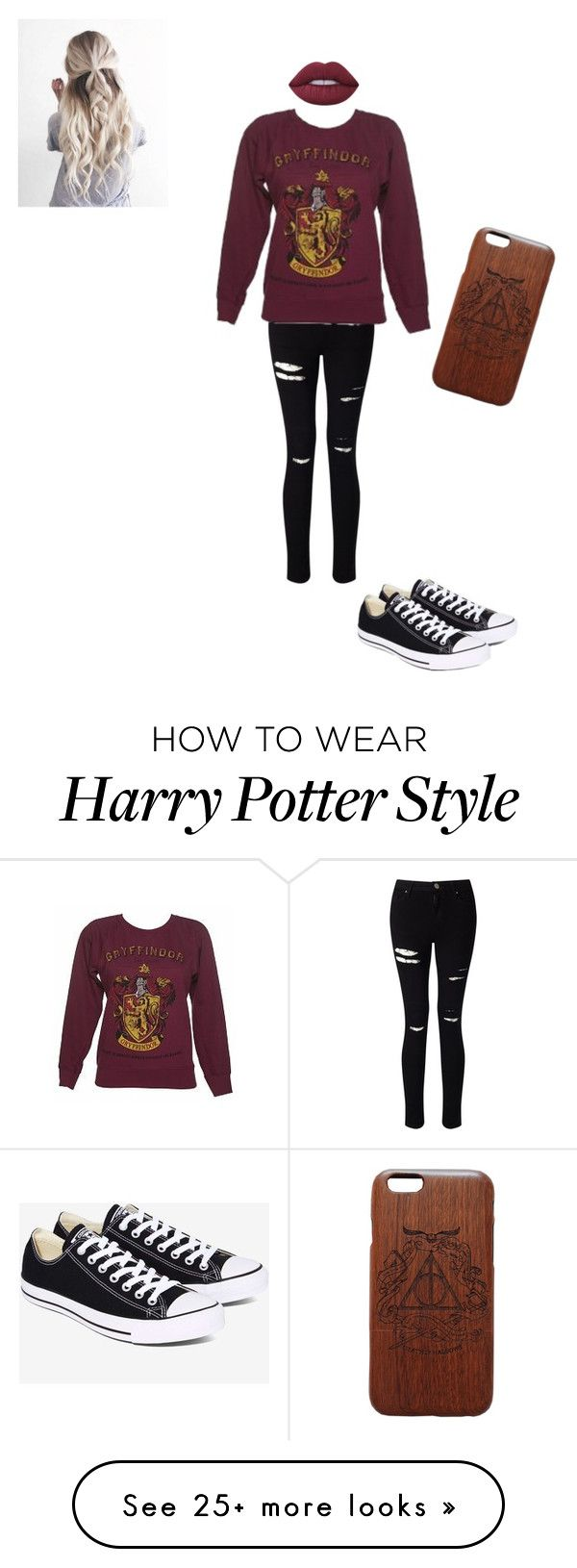 """Harry Potter"" by sophialynns on Polyvore featuring Miss Selfridge, Lime Crime and Converse"