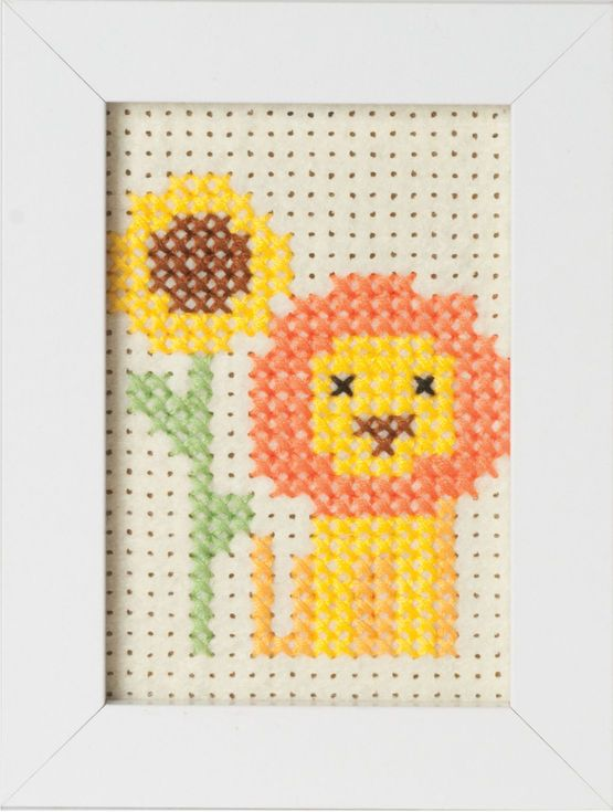 Lion Felt Cross Stitch Kit With Frame £7.75 | Past Impressions | Groves