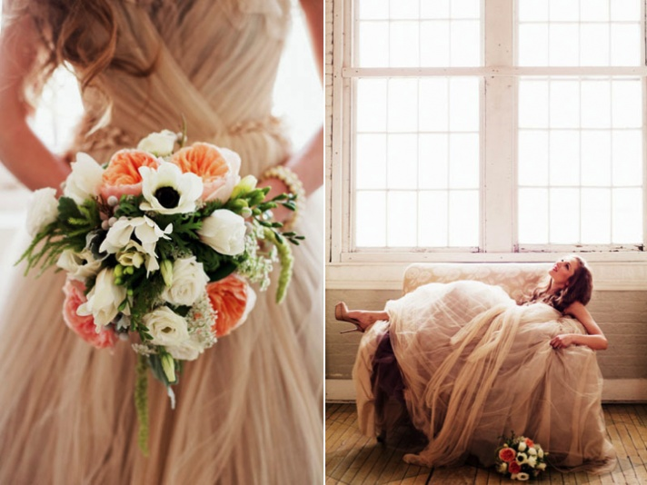 Beautiful and romantic - great use of peach and ivory. Great for summer #wedding #bouquet