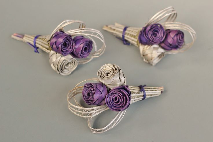 Three bud corsage in purple and silver.  www.flaxation.co.nz