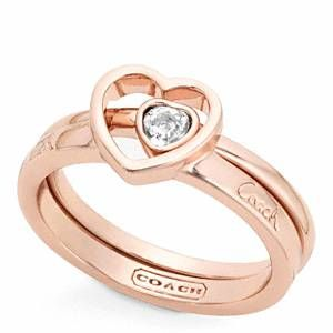 Coach - Pave Stone Heart Ring Set Rs/clear 8 by: Coach @Coach, Inc., Inc. great #anniversary or #valentinesday present
