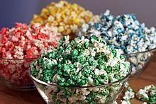 Homemade Microwave Colored Popcorn - It's easy to make it any color in the rainbow!