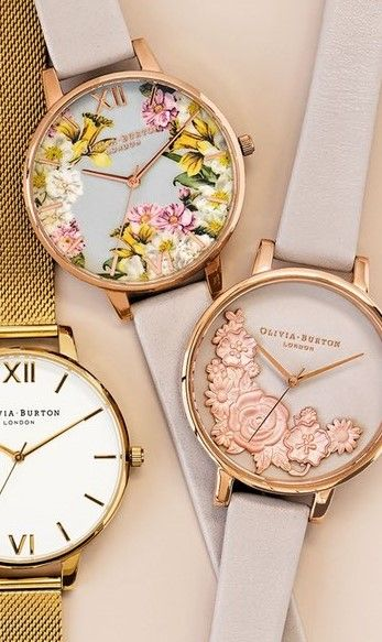 Olivia Burton Flower Show Leather Strap Watch