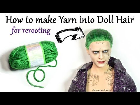DIY Yarn Doll Hair for rerooting - How I made hair for Suicide Squad Joker Custom Doll - YouTube