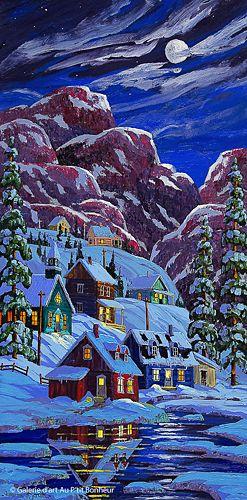 Vladimir Horik, 'Soir de pleine lune', 18'' x 36'' | Galerie d'art - Au P'tit Bonheur - Art Gallery