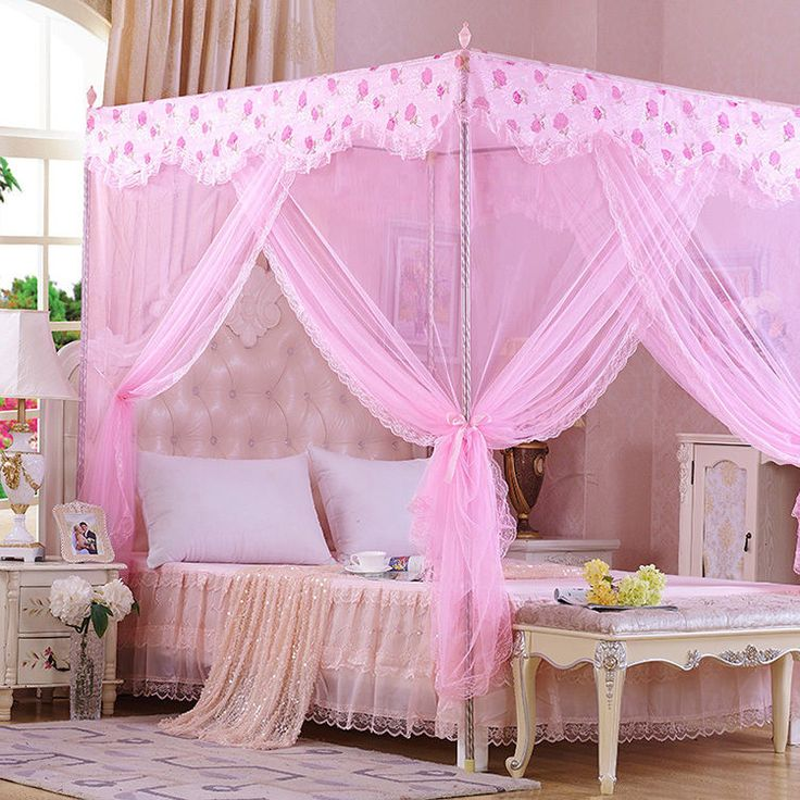 Princess Lace Flower Four Corner Posted Bed Canopy Mosquito Netting Single Queen