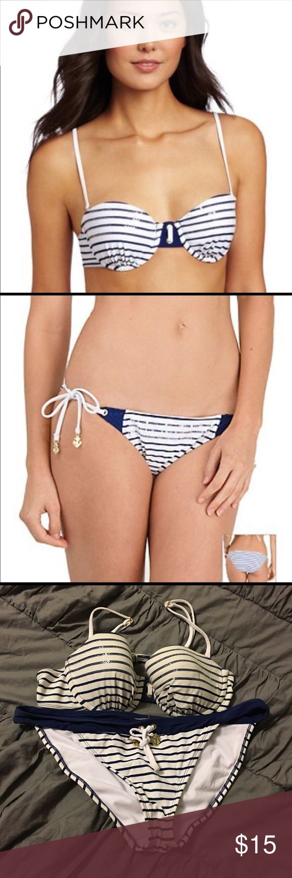 Blue and White Sperry Bikini Blue and White Stripe Sperry Bikini. I bought it used. I personally never wore it. It was a little too big on me :(. It looks like it has a little fading from maybe a river. Still a very beautiful swimsuit with a lot of love to give!! If you have any questions please ask or feel free to make an offer!! Sperry Top-Sider Swim Bikinis