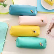 Fresh Style Candy Color Horse Pu Leather Pencil Case Stationery Storage Bag Escalar Papelaria Escolar School Supplies(China (Mainland))