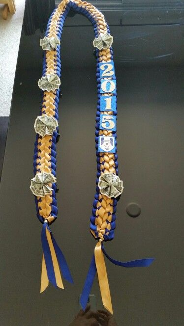 Graduation Lei (blue and gold) Double braided with Year, school emblem, money rosettes Any color available