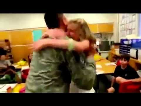 Members of the military return home to reunite with their families - YouTube
