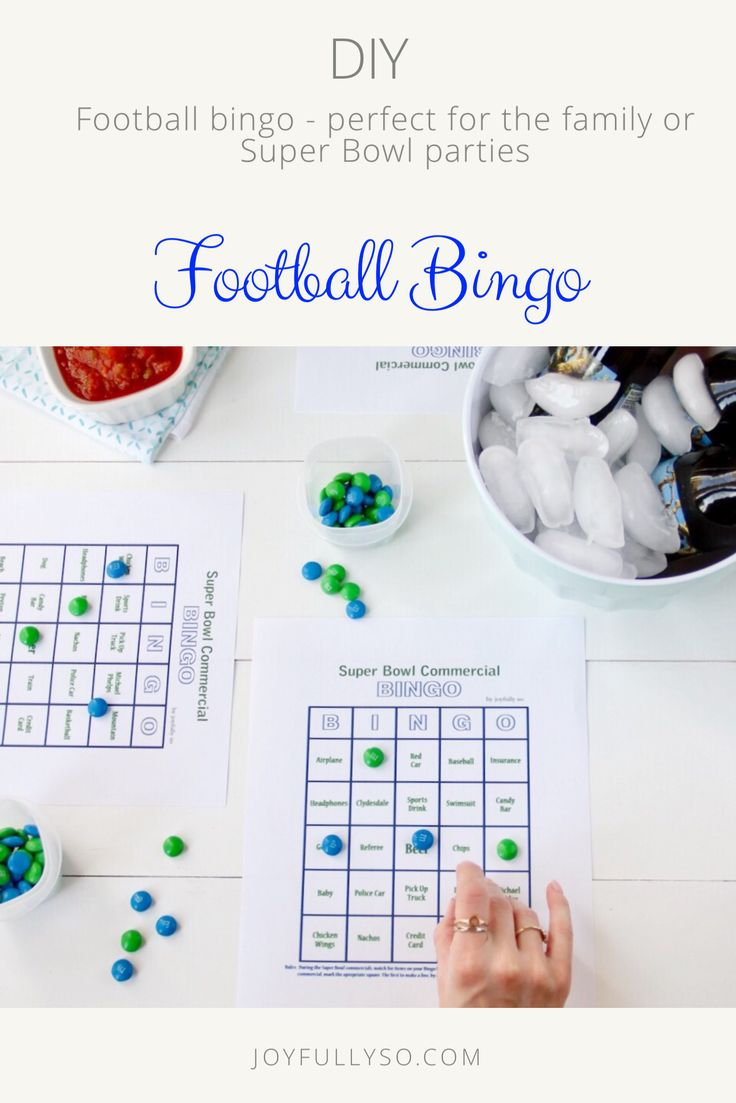Football Bingo - perfect for the family to play or as a Super Bowl party game